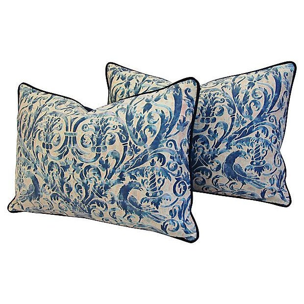 Custom Designer Italian Fortuny Uccelli Feather/Down Pillow (One Pillow) - Image 7 of 10