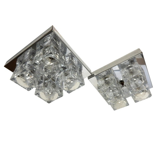 Italian Sciolari Chrome & Crystal Flush Mounts - a Pair - Image 1 of 9