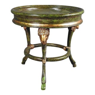 English Regency Rams Head Faux Painted Green and Gold Gilded Occasional Table For Sale