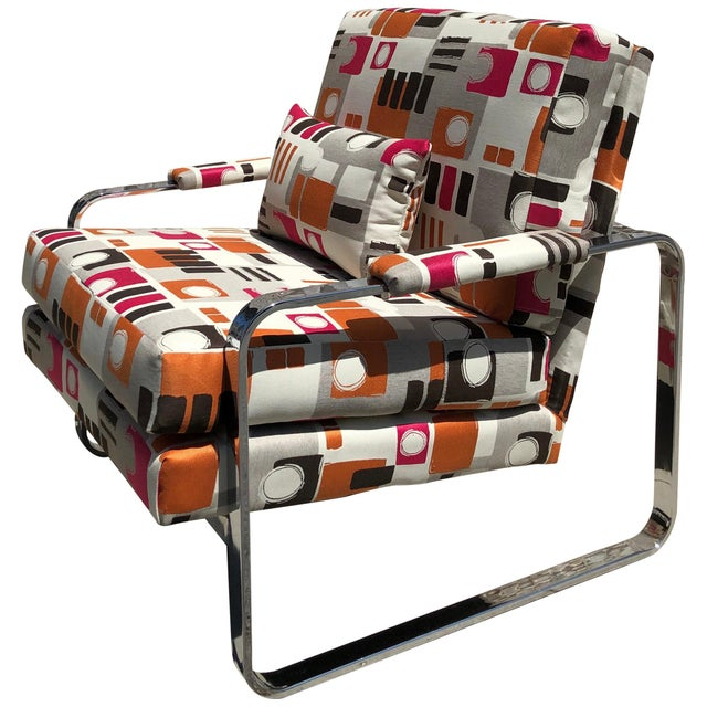 1970s Modern Chrome Club Chair For Sale - Image 9 of 9