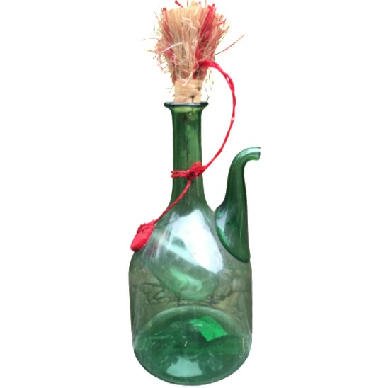 Italian Green Glass Wine Carafe Chiller - Image 1 of 6