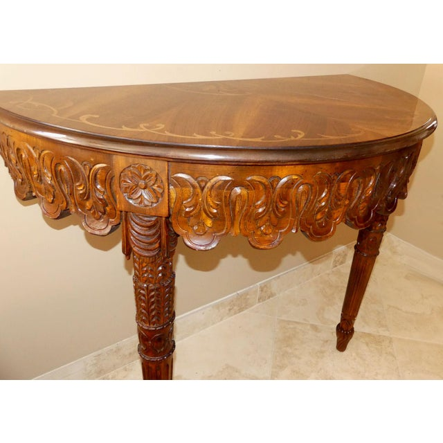 Italian Hand Carved Inlaid Wood Demilune Console Table For Sale - Image 10 of 13