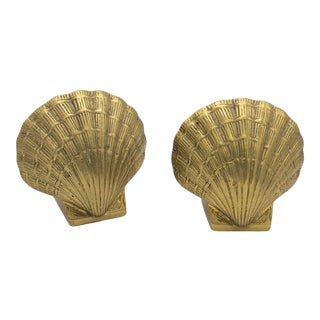 Weighted Brass Shell Bookends For Sale