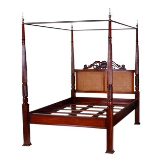 British Colonial West Indies Style Queen-Size Canopy Bed For Sale