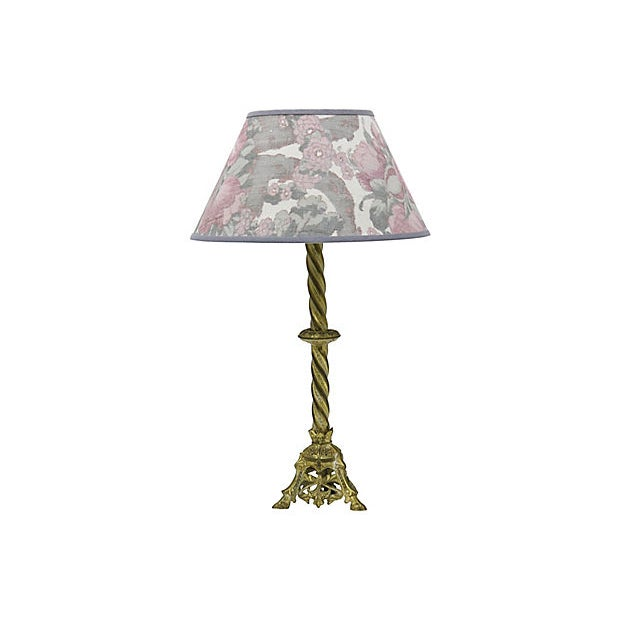 Vintage French Ikat Linen lampshade For Sale - Image 4 of 4