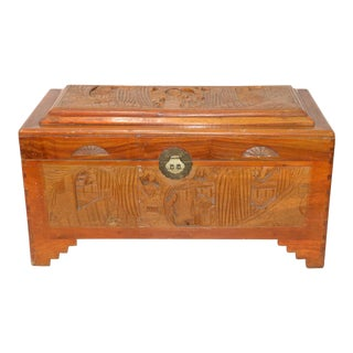 Vintage Carved Chinese Camphor Chest For Sale