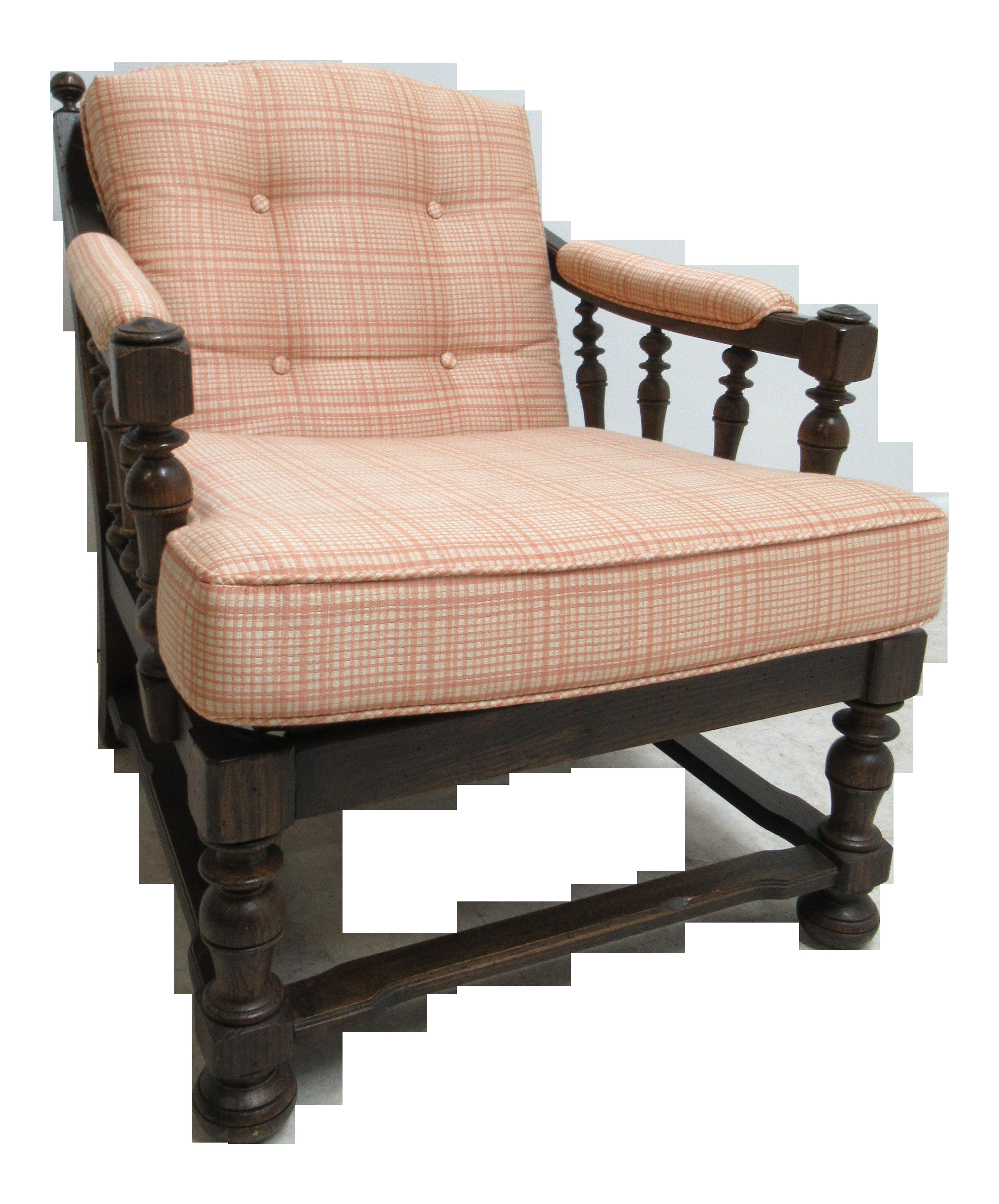 1980s Jacobean Ethan Allen Fireside Lounge Chair