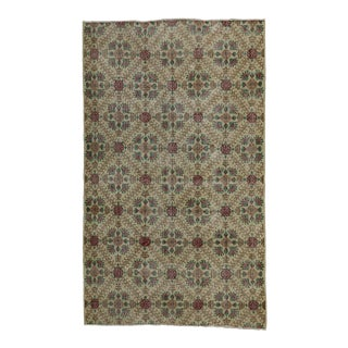 "Zeki Muren Distressed Vintage Turkish Sivas Area Rug - 5'5"" X 9'4"""