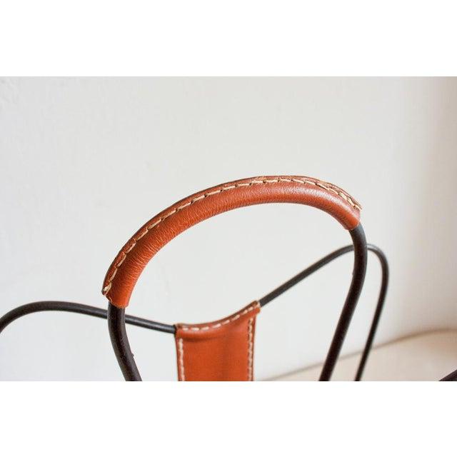 Vintage Leather & Iron Jacques Adnet Style Magazine Holder - Image 5 of 5