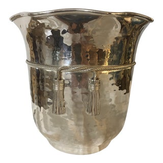 Vintage 1970s Silverplate Ice Bucket With Rope and Tassel Trim For Sale