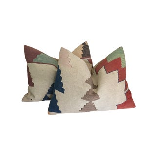 Turkish Anatolian Wool Kilim Down/Feather Geometric Pillows - a Pair For Sale