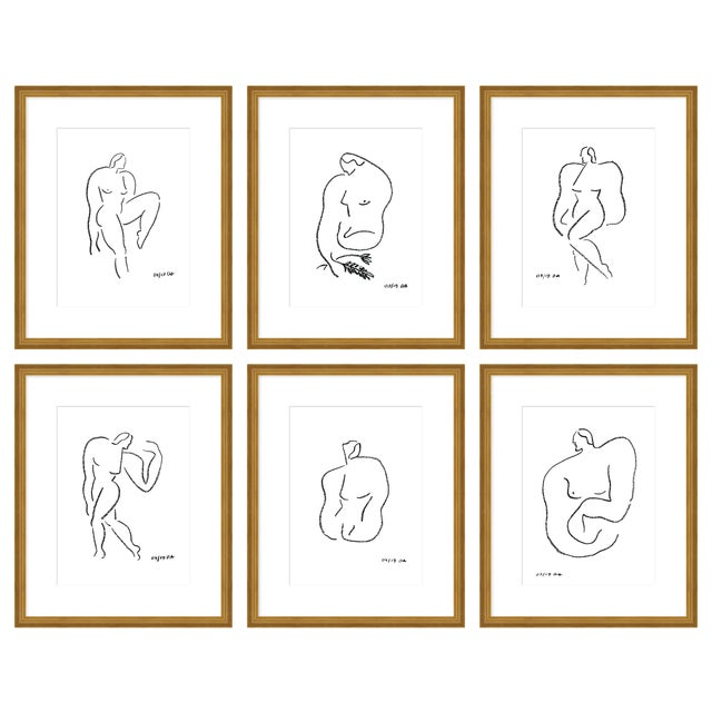 "Large ""Poses, Set of 6"" Print by Sia Dzahn, 54"" X 44"" For Sale"