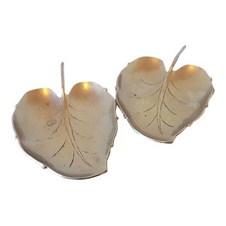 1970s Rustic Brass Leaf-Shaped Trays - a Pair For Sale