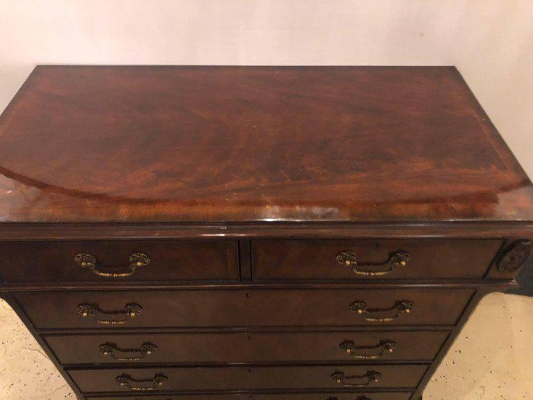 Fine Georgian Style Flame Mahogany Double File Cabinet Credenza   Image 8  Of 13