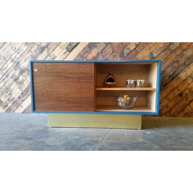 Vintage Custom Blue Lacquer Brass Credenza - Image 3 of 6