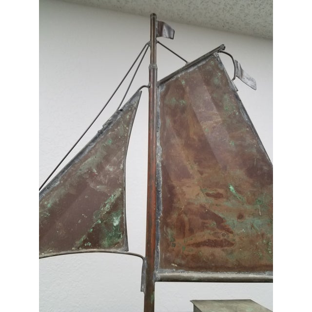 Antique Copper Boat Weathervane For Sale - Image 9 of 13