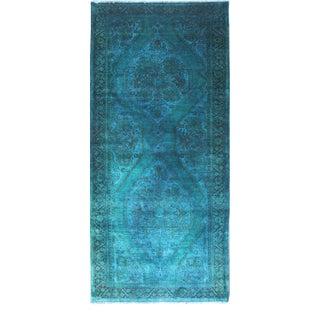 Vintage Oushak Turkish Rug in Turquoise, Blue, Green & Light Brown Highlights For Sale
