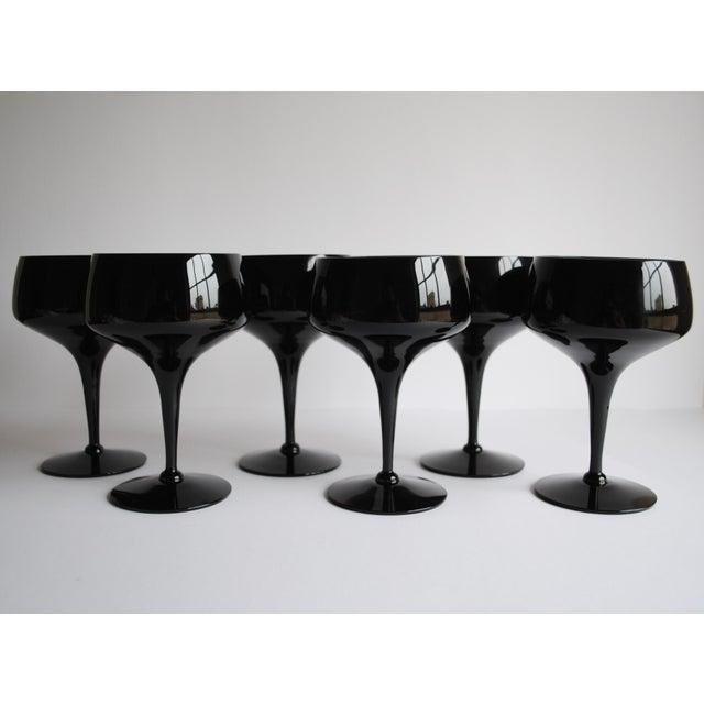 Mid-Century Black Cocktail Glasses - Set of 6 - Image 3 of 4