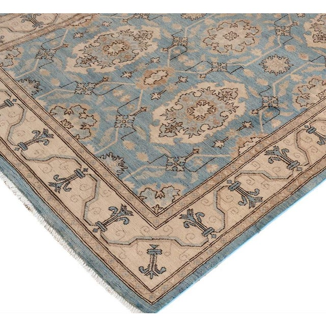 Abstract Kafkaz Peshawar Cedrick Lt. Blue/Ivory Hand-Knotted Rug - 4'1 X 6'0 For Sale - Image 3 of 8