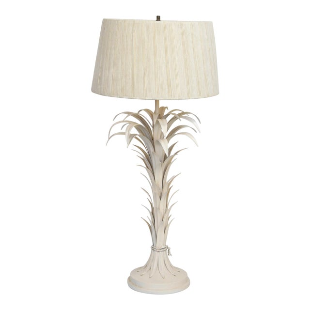 Large Tole Table Lamp with Rope Shade - Image 1 of 10