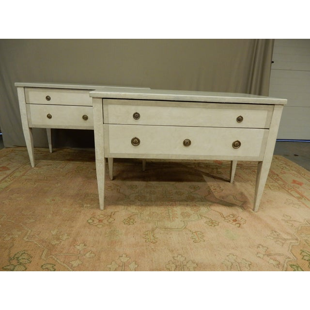 Pair of Antique Painted Louis XVI Style Commodes For Sale - Image 12 of 12