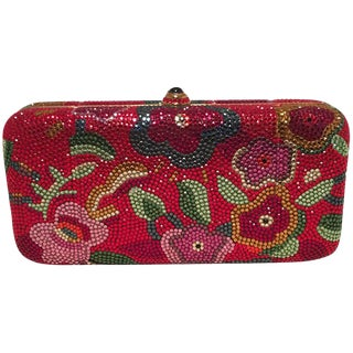 Judith Leiber Red Swarovski Crystal Floral Print Minaudiere Evening Bag Clutch For Sale