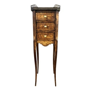 Antique French Marquetry 3-Drawer Stand Side Table