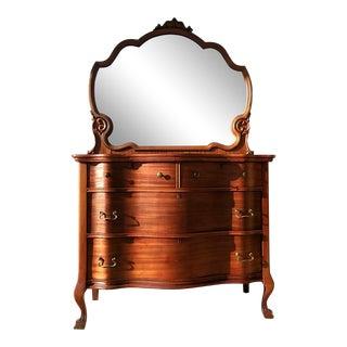 20th Century Victorian Serpentine Dresser & Mirror For Sale