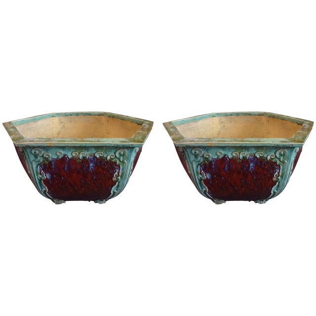 Chinese Hexagon Planters - a Pair For Sale
