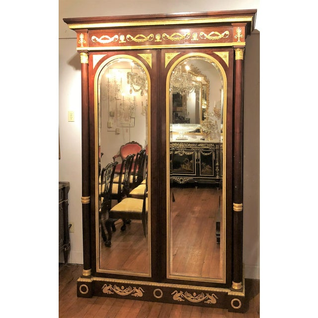 Antique French Empire Mahogany Armoire with Bronze D'Ore Mounts, Circa 1850-1860.