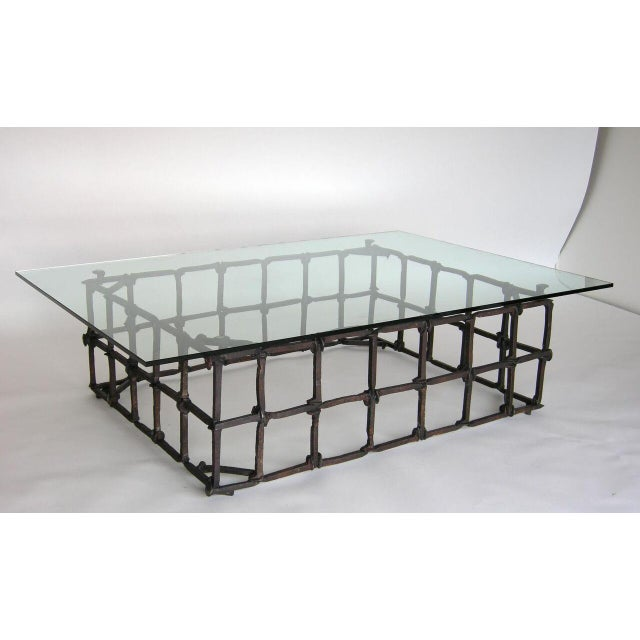 1920s Custom Rail Road Spike Coffee Table with Glass Top For Sale - Image 5 of 9
