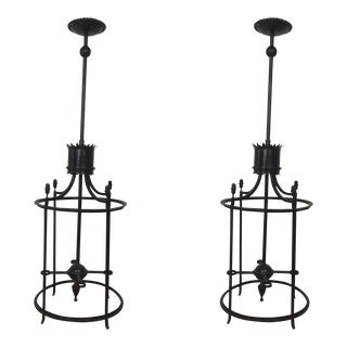 Early 20th Century Iron Porch Lights - A Pair