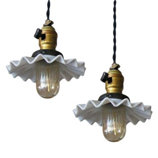 Industrial Hanging Lights With Milk Glass Shades - A Pair For Sale