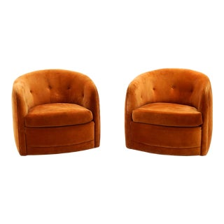 Milo Baughman Orange Velvet Tilt Swivel Club Chairs- A Pair For Sale