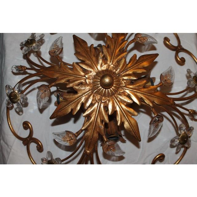Maison Baguès 1960s Vintage Maison Baguès 4-Light Flush Mount Gilt Tole/ Crystal Ceiling Fixture/ Chandelier For Sale - Image 4 of 13