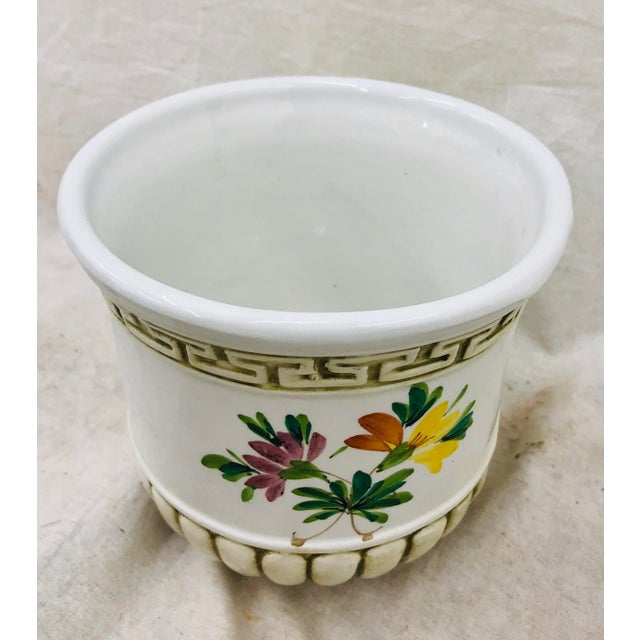 Cottage Hand Painted Italian Cache Pot For Sale - Image 3 of 6