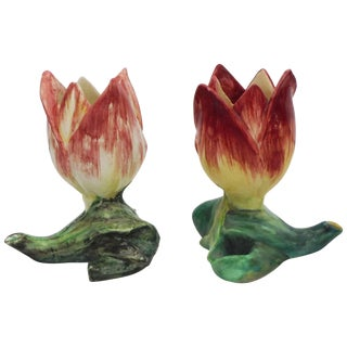 19th Century Majolica Massier Tulip Vases - a Pair For Sale