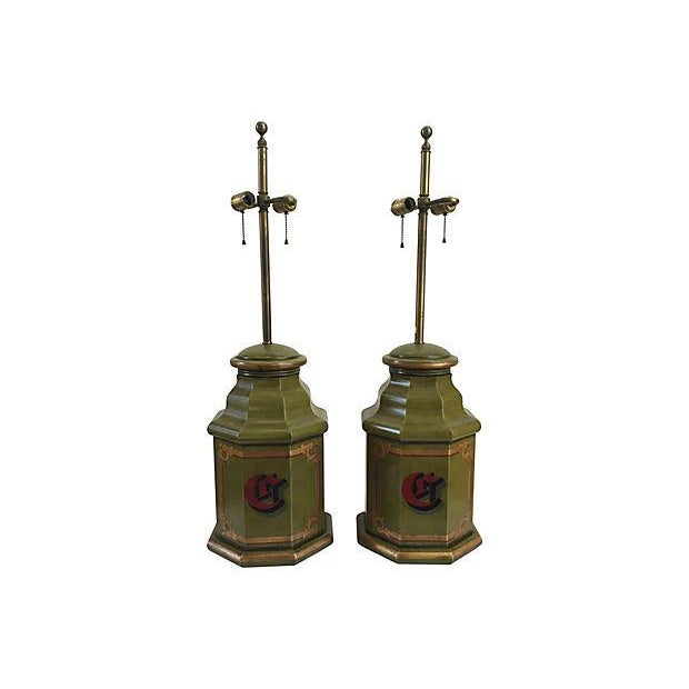 "Pair of English tole octagonal striking green canister table lamps with large center red monogram ""C,"" with hand-decorated..."