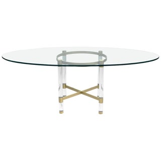 1970s Sandro Petti for Metalarte, Brass and Lucite Dining Table For Sale