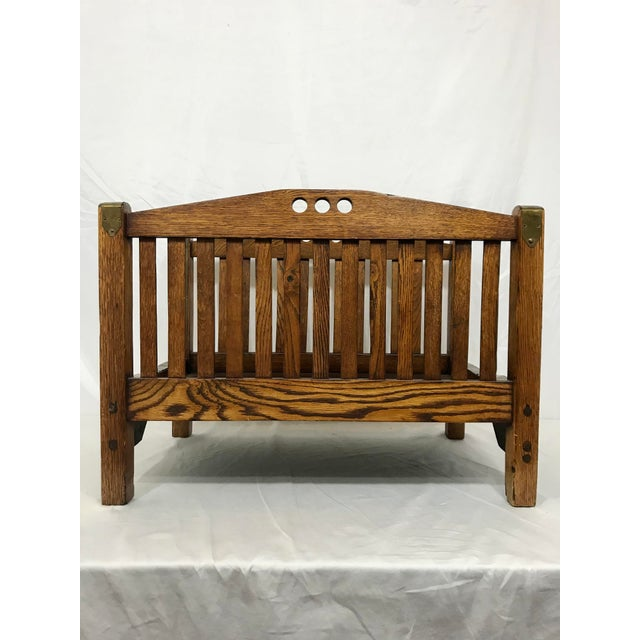 Stickley Inspired Arts and Crafts Firewood Hod For Sale - Image 6 of 7