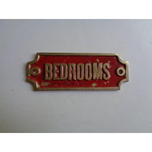 """Mid-Century Modern Mid-Century """"Bedrooms' Hotel Door Sign For Sale - Image 3 of 3"""