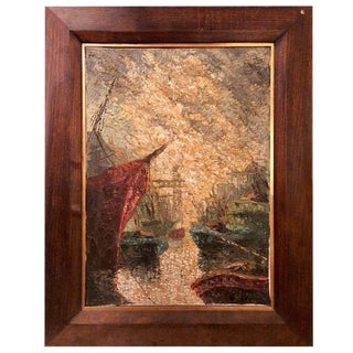 Abstract Oil on Canvas Painting of Boats on a Canal Signed For Sale