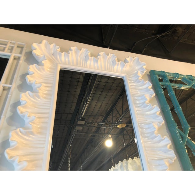 1970s Vintage Hollywood Regency Lacquered White Ruffle Scalloped Wall Mirror For Sale - Image 5 of 12