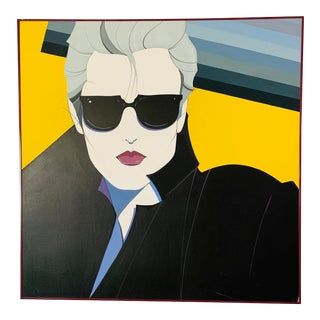 Patrick Nagel Style Blond Girl With Sunglasses Painting For Sale