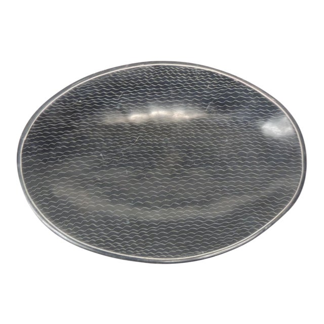 African Besmo Soapstone Black and White Oval Decorative Tray For Sale