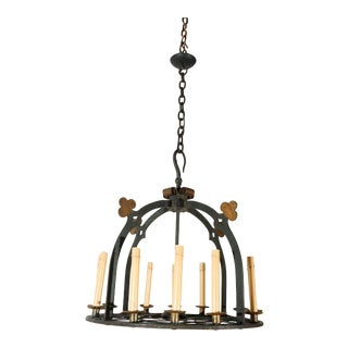 1930s French Iron & Brass Chandelier For Sale