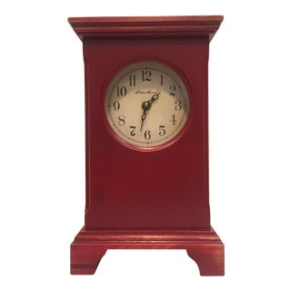 Red Wood Mantle Clock For Sale