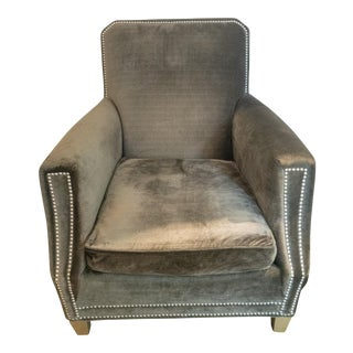 Contemporary Lee & Co Custom Grey Velvet Club Chair