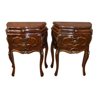 1950s Italian Mahogany Bombe' Chests - a Pair For Sale