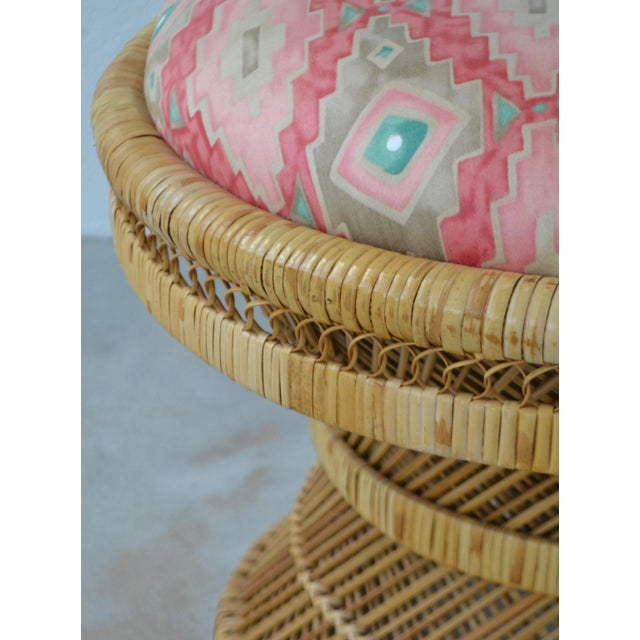 Wood Mid-Century Woven Rattan Stool For Sale - Image 7 of 10